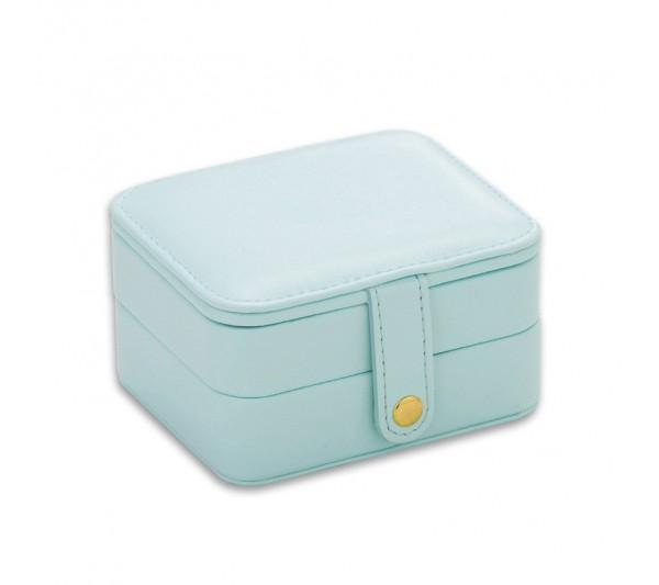 "Teal blue Small Jewelry Travel Organizer Storage box, 4 1/4"" L x 3 1/2"" W x 2 3/8"" H"