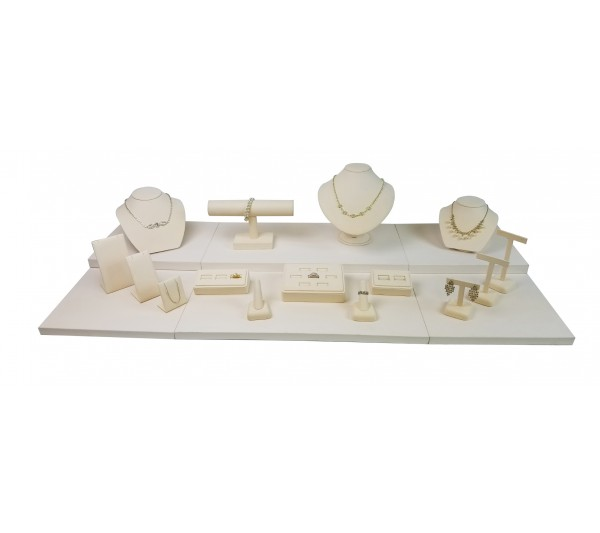 "Beige 18-pcs Display Set, 42""  W x 18"" D x 7 5/8"" H"