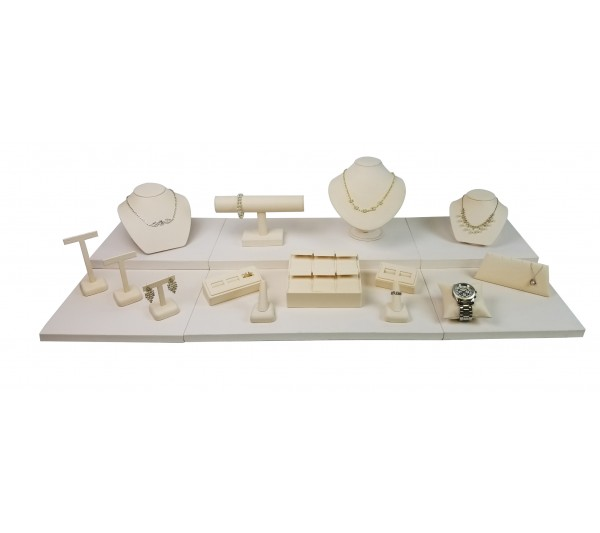 "Beige 17-pcs Display Set, 42""  W x 18"" D x 7 5/8"" H"
