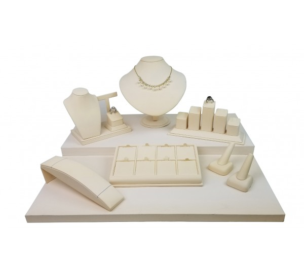 "Beige 8-pcs Display Set, 20""  W x 18"" D x 9 5/8"" H"