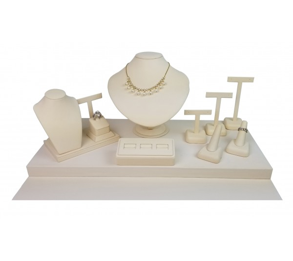 "Beige 9-pcs Display Set, 20""  W x 18"" D x 9 5/8"" H"