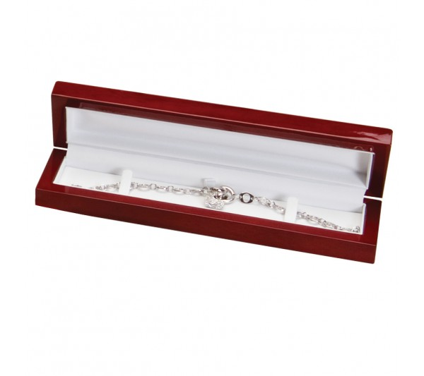 Glossy Rosewood Finish with white faux Leather Interior, Bracelet Box 8 3/4' x 2 1/4' x 1 3/8' H