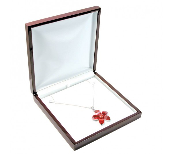 Glossy Rosewood Finish with white faux Leather Interior,  Necklace Box 7 5/8' x 7 5/8' x 1 5/8' H