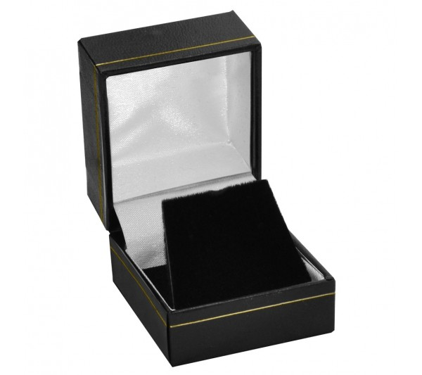 "Classic Black Leatherette with Gold Trim, Earring Box 1 3/4"" x 2"" x 1 1/2"" H"