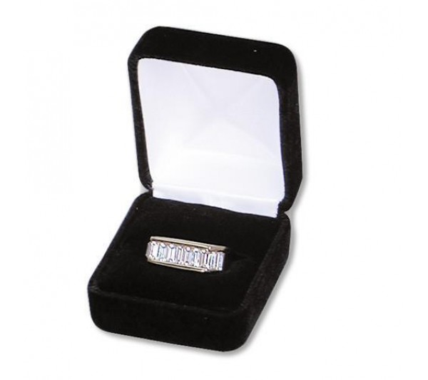 "Richmond Collection Velvet Metal Ring Box 1 7/8"" x 2 1/8"" x 1/1/2"" H"