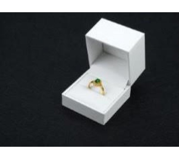 "White Leatherette Style Ring Box, 2 1/8"" x 2 1/8"" x 2"" H  w/ White  Sleeve included"