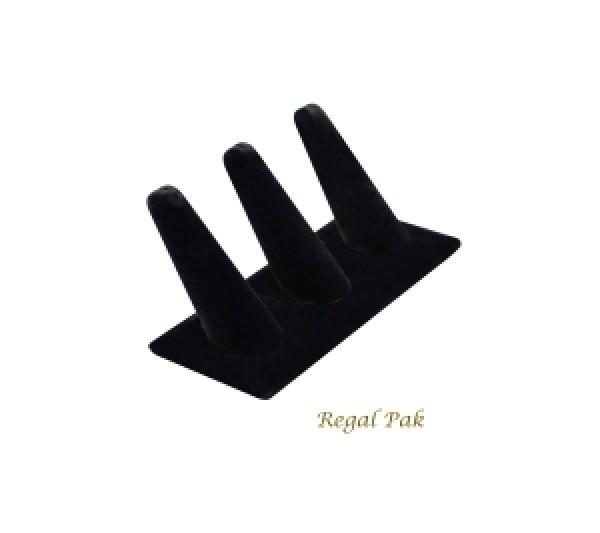 """Black Velvet 3-Finger Ring Holder 4-7/8"""" X 2-1/4"""" X 2-3/8""""H"""