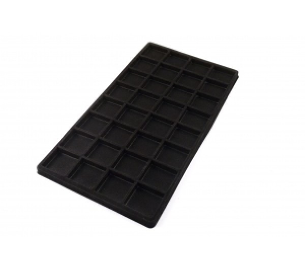 """Full Size Black Plastic Tray Liner (32-Section) 14-1/8"""" X 7-5/8"""" X 1/2""""H"""