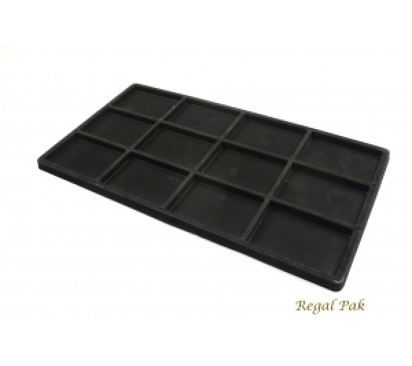 """Full Size Black Flocked Plastic Tray Liner (12-Section) 14-1/8"""" X 7-5/8"""" X 1/2""""H"""