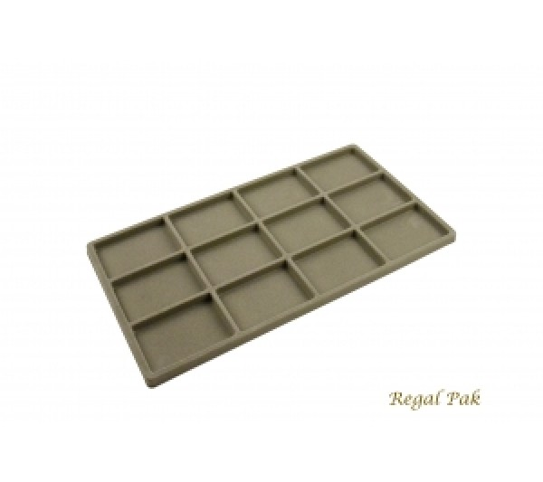 "Full Size Gray Flocked Plastic Tray Liner (12-Section) 14-1/8"" X 7-5/8"" X 1/2""H"