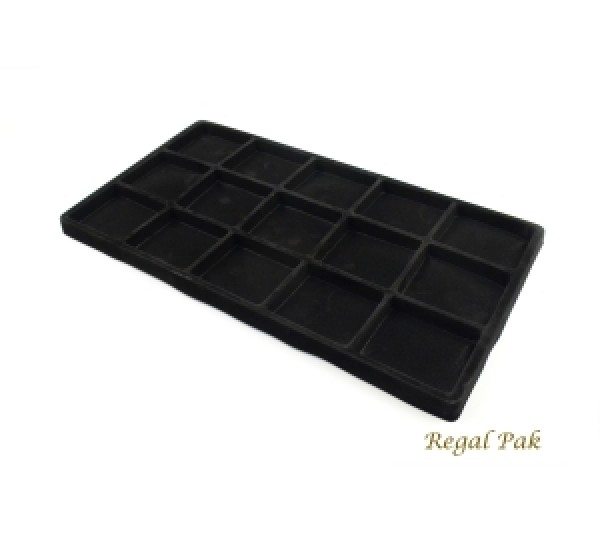 """Full Size Black Flocked Plastic Tray Liner (15-Section) 14-1/8"""" X 7-5/8"""" X 1/2""""H"""