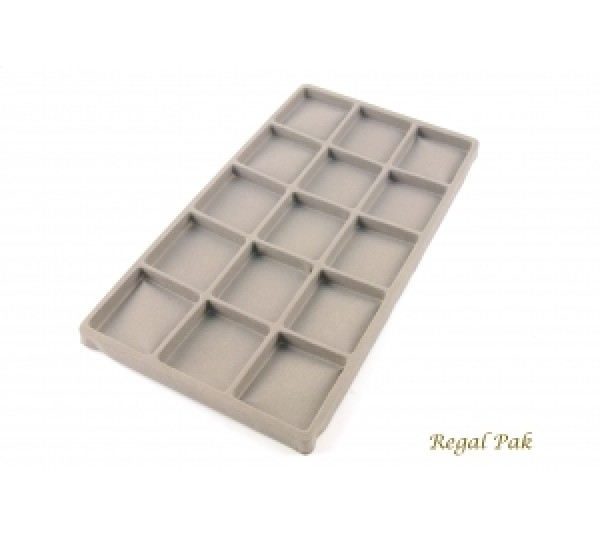 "Full Size Gray Flocked Plastic Tray Liner (15-Section) 14-1/8"" X 7-5/8"" X 1/2""H"