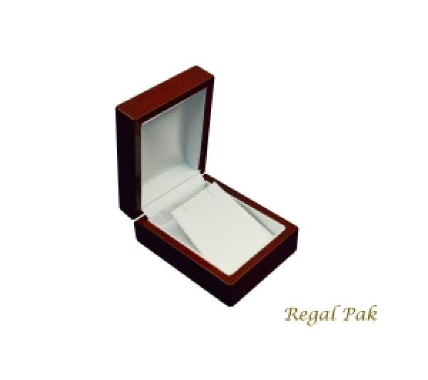 Glossy Rosewood Finish with white faux Leather Interior,   Earring/Pendant Box 3 1/8' x 4' x 1 7/8' H