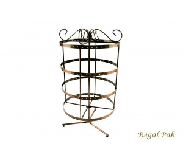 "Copper Metal Round Rotating Stand (96 Pairs) 7 3/4"" X 14 1/8""H"