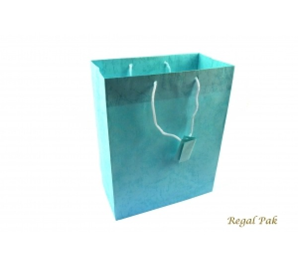 "Teal Blue Shopping Tote 7 3/4"" X 4"" X 9 3/4""H"