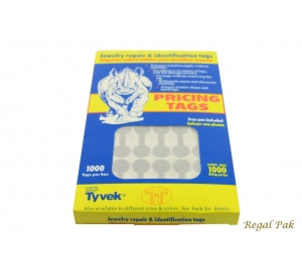"Silver Color Tyvek Paper Pricing Tag With Adhesive (1000 Pieces In A Pack) 1 3/8"" X 1/2"""