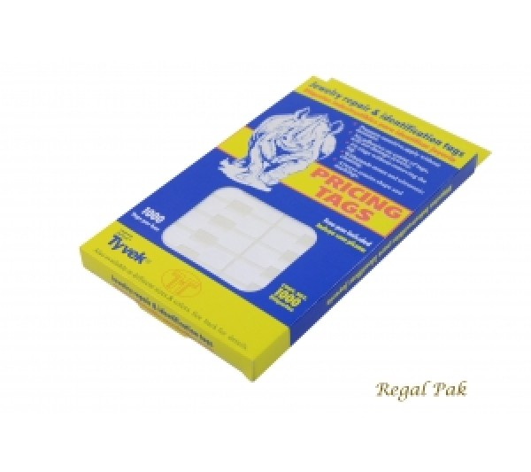 "White Tyvek Paper Pricing Tag With Adhesive (1000 Pieces In A Pack) 1 3/8"" X 1/2"""