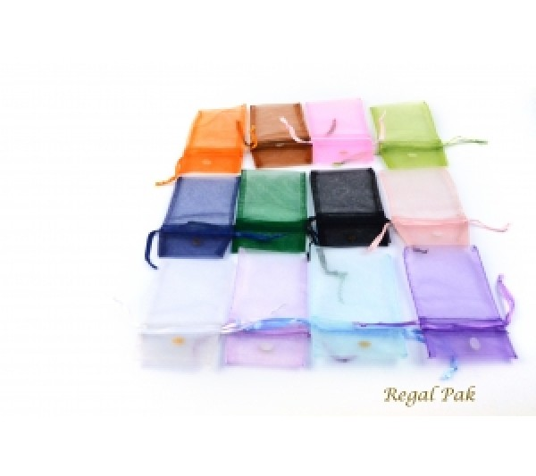 "Assorted Organza Drawstring Pouch 2 3/4"" X 3"" (12 Pieces/One Dozen)"