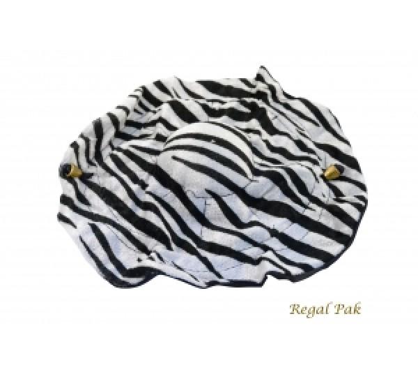 "Elegant Zebra Print Clinch Pouch Diameter 10"""