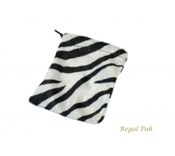 "Velveteen Zebra Drawstring Pouch 2 3/4"" X 3"" (12 Pieces/One Dozen)"