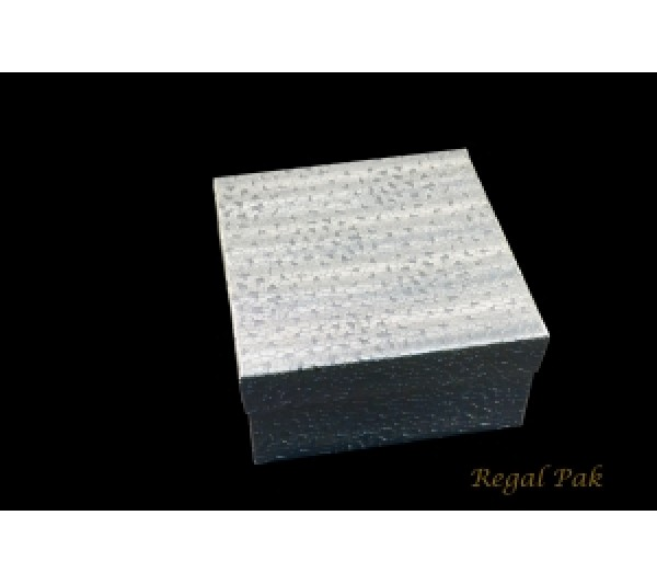 "Silver Texture Cotton Filled Box - 3 3/4"" x 3 3/4"" x 2""H   (100 pcs)"
