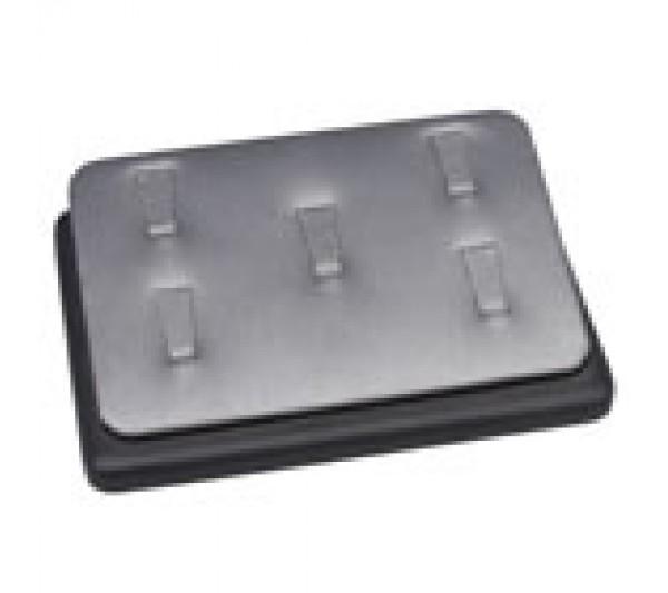 "Steel Grey W/ Black Faux Leather Trim Clip 5- Ring Display 5 1/2"" X 3 3/4"" X 1 1/4""H"