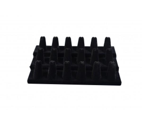 """Black Velvet 18 Finger Ring Stand 8-1/4"""" X 4-3/4"""" X 2-1/2""""H"""
