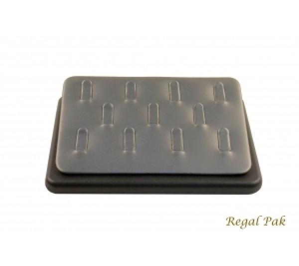 "Steel Grey w/ Black Faux Leather Trim Ring display (11-clip) 6 1/2"" x 4 1/2"" x 1""H"