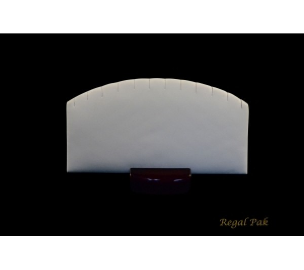 "White Faux Leather W/ Glossy Rosewood Trim Earring Pad W/ Wood Stand (6-Pair) 6 1/4"" X 1 3/4"" X 3 1/8""H"