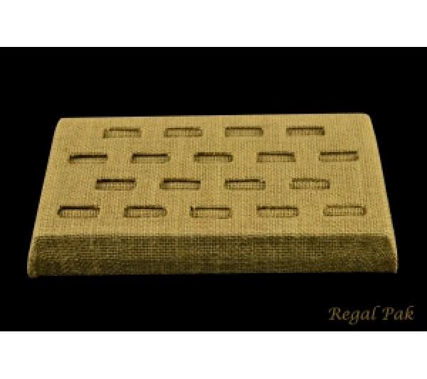 """Burlap Natrual Ring Tray (18-Ring) 8-1/4"""" X 4-1/2"""" X 1-3/4""""H"""