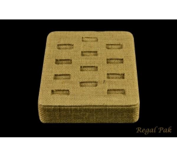 """Burlap Natrual Ring Tray (12-Ring) 5"""" X 5-3/4"""" X 2""""H"""