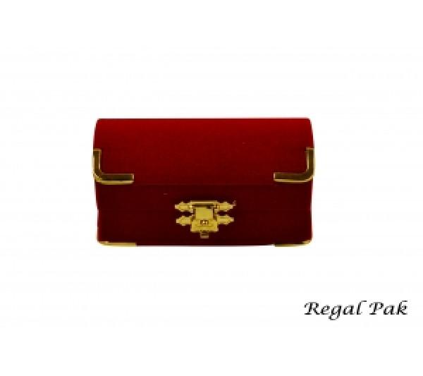 Charlestone Collection Flocked Gilt Corner Red Ring Box 3 1/8