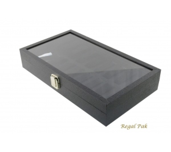 "Glass Top View Watch Case With 18 Collars 14 3/4"" X 8 1/4"" X 2 3/4"""