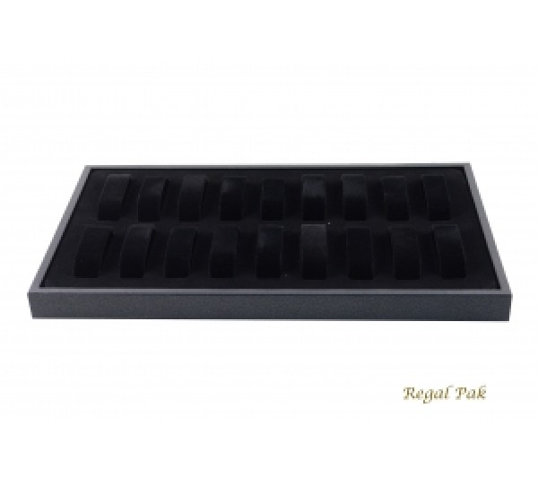 "Black Full Size Watch Tray With 18 Collars 14 3/4"" X 8 1/4"" X 1 1/8""H"
