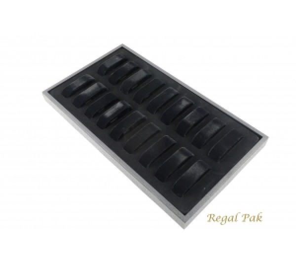 Black Plastic Watch Tray With 18 Collars 14 3/4''w X 8 1/4''d X 1 1/8''h