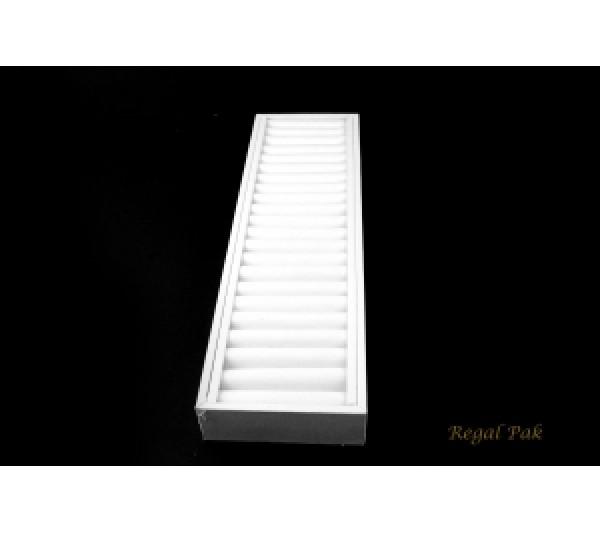 "White Leatherette Long Bangle Tray 15 3/4"" X 4 1/4"" X 1 1/2""H"