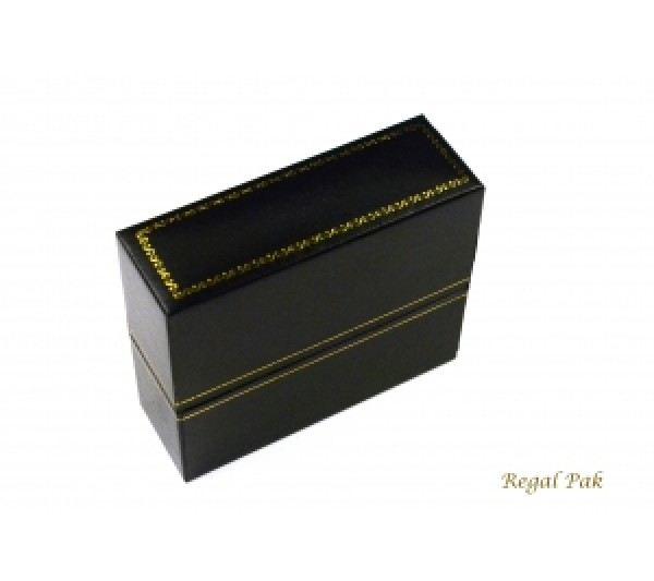 "Classic Black  Leatherette with Gold Trim,  Bangle Box 1 1/4"" x 3 3/4"" x 3 1/8"" H"
