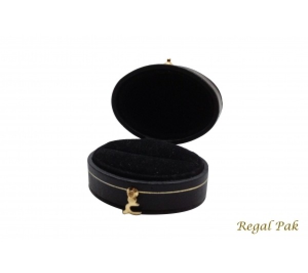 "Victorian Collection Black Leatherette Ring Box 2.00""X1.45""X1.22""H"