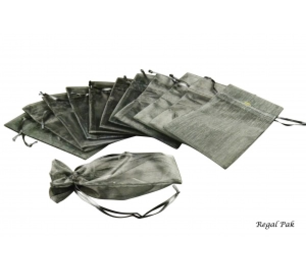 "Black Organza Drawstring Pouch 4"" X 5""   (12 Pieces/One Dozen)"