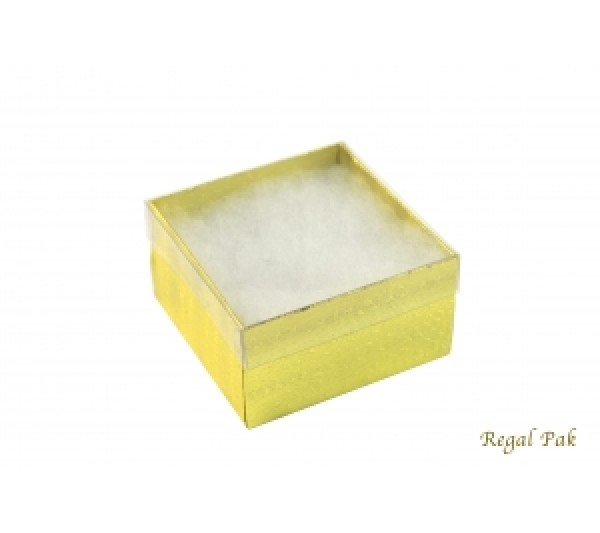 Gold Texture View-Top Cotton Filled Box 3 3/4 (100 pcs)