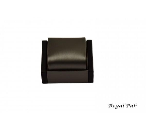"""Steel Grey Faux Leather w/ Black Trim Watch stand 2 3/4"""" x 2 3/4"""" x 2 3/8""""H"""