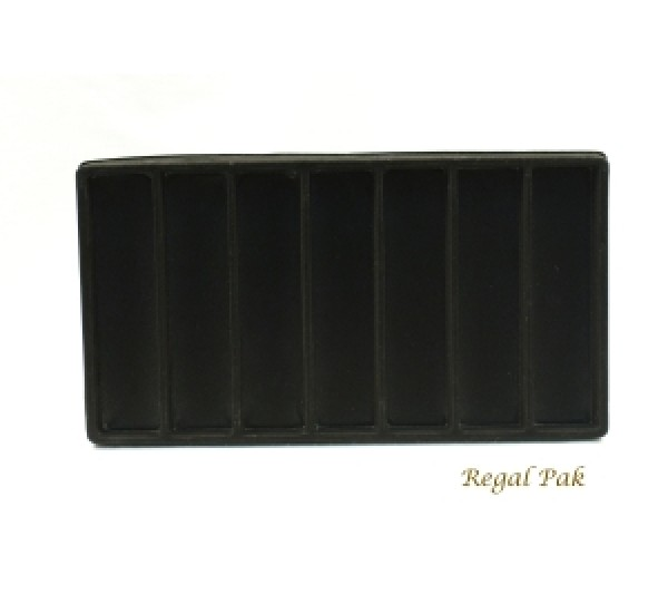 "Full Size Black Flocked Plastic Tray Liner (7-Section) 14-1/8"" X 7-5/8"" X 1/2""H"