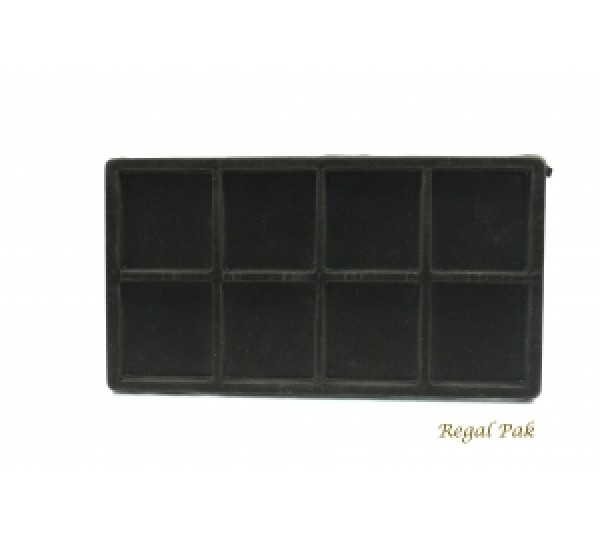 "Full Size Black Flocked Plastic Tray Liner (8-Section) 14-1/8"" X 7-5/8"" X 1/2""H"