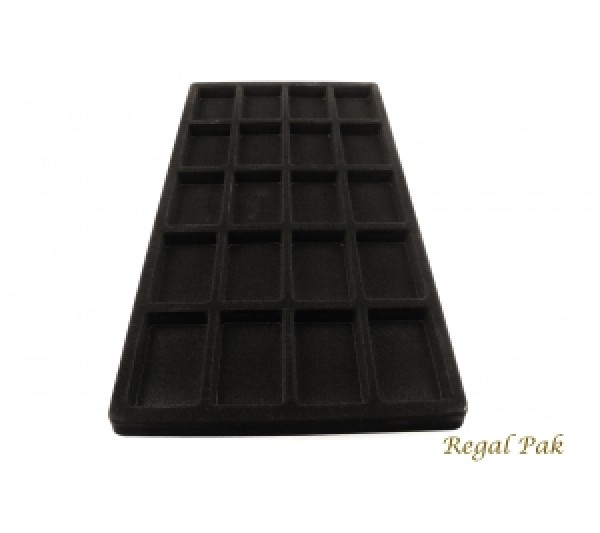 "Full Size Black Flocked Plastic Tray Liner (20-Section) 14-1/8"" X 7-5/8"" X 1/2""H"