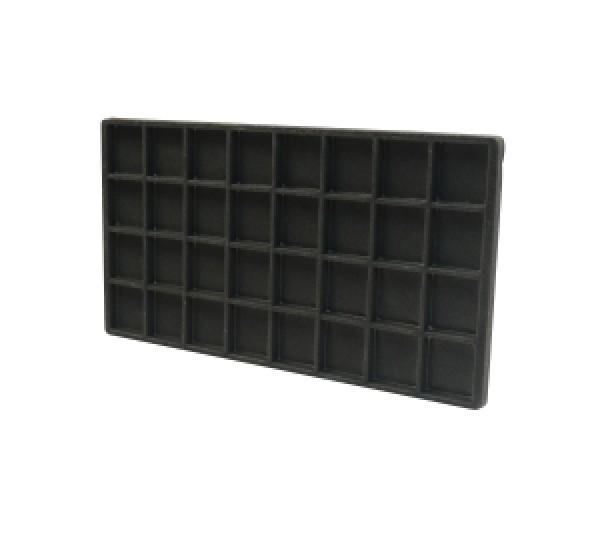 """Full Size Black Flocked Plastic Tray Liner (32-Section) 14-1/8"""" X 7-5/8"""" X 1/2""""H"""