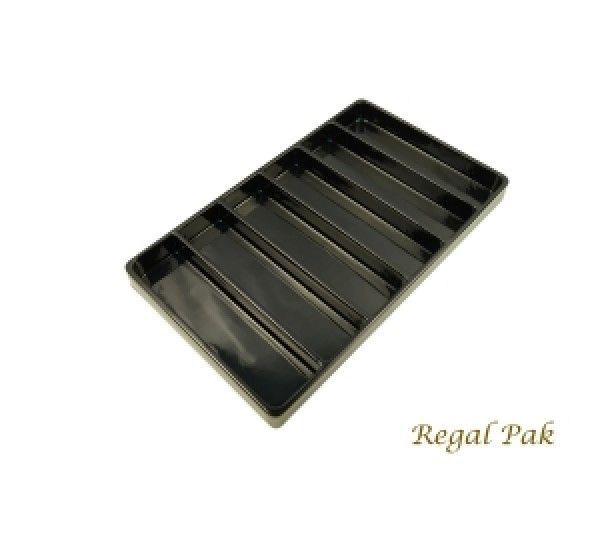 "Black Plastic Stackable Tray (6-Section) 15-7/8"" X 9-1/2"" X 1-3/8""H"