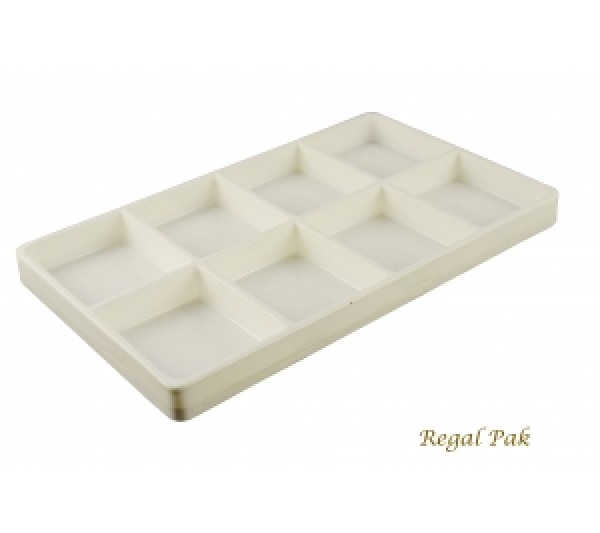 "White Plastic Stackable Tray (8-Section) 15-7/8"" X 9-1/2"" X 1-3/8""H"