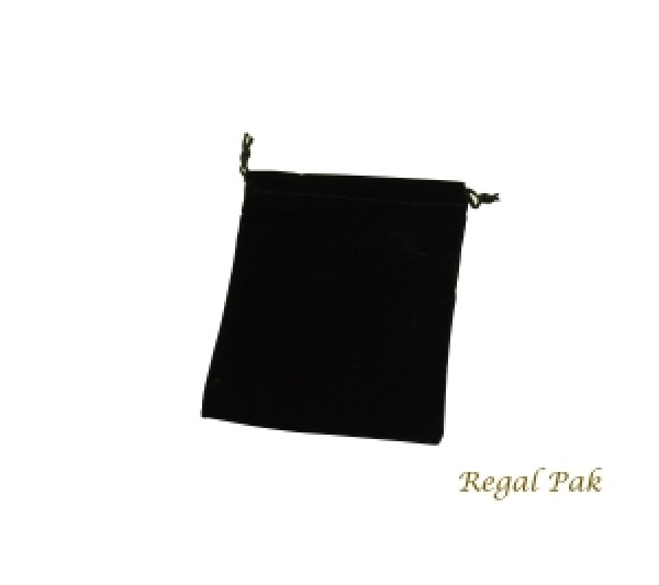 "Black Velveteen Drawstring Pouch 4"" X 5"" (12 Pieces/One Dozen)"