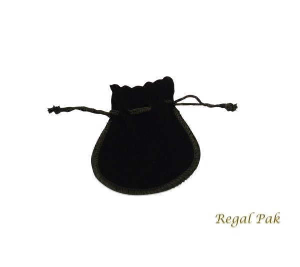 "Large Black Velveteen  Drawstring Teardrop Pouch 3 1/2"" X 3"" (12 Pieces/One Dozen)"