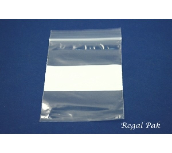 "Reclosable 2 Mil White Band Zipper Bags (100 Pieces In A Pack) 3"" X 4"""